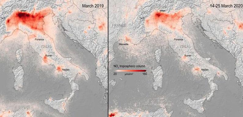 Снимки из космоса: как изменился воздух при пандемии коронавируса