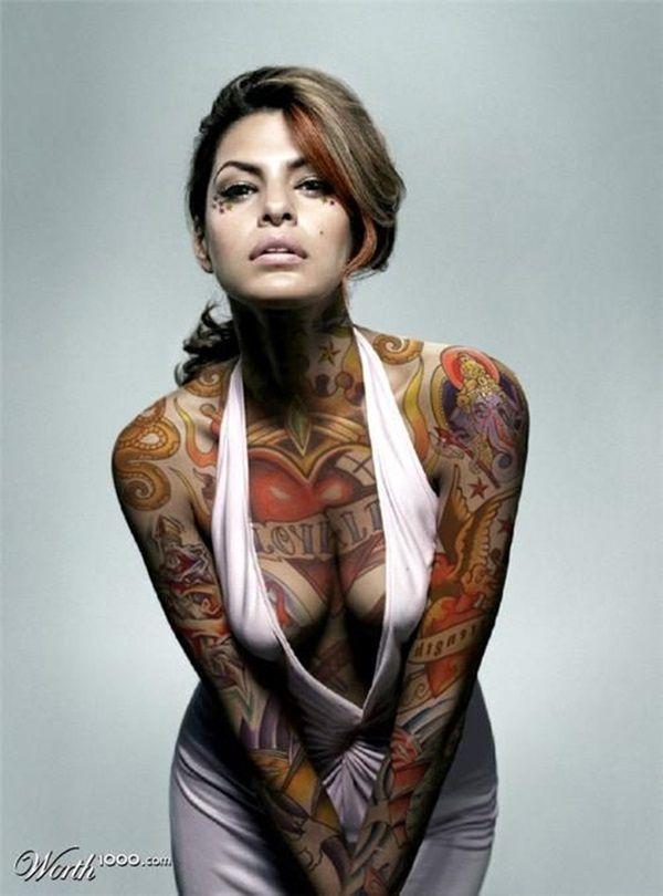 Ну, очень красивые девушки с шикарными татуировками (53 фото) 30