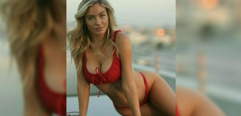 Ханна Палмер – горячие фото блондинки в красном