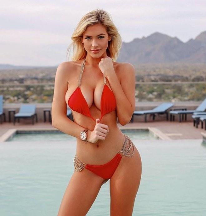Ханна Палмер - горячие фото блондинки в красном 3