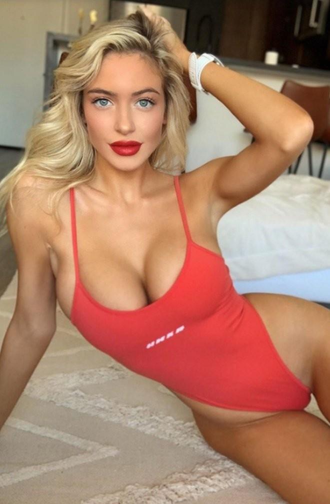 Ханна Палмер - горячие фото блондинки в красном 11
