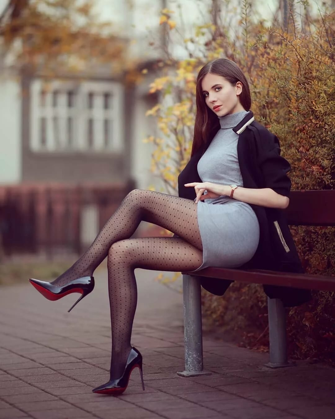 Шикарные девушки в черных колготках: им тепло, нам - приятно ;) 8